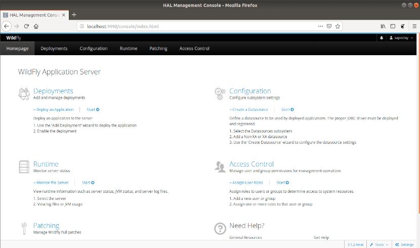 Consola administración de Wildfly en el navegador