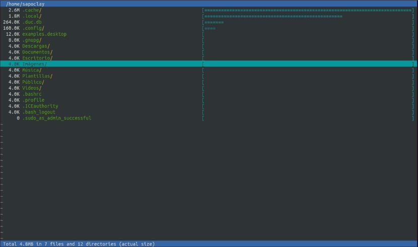 interfaz usuario terminal espacio en disco