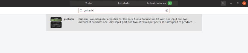 guitarix instalación desde la opción de software de Ubuntu