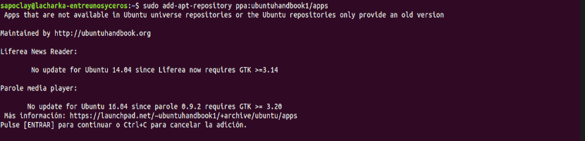 instalación ubuntuhandbook1 repo