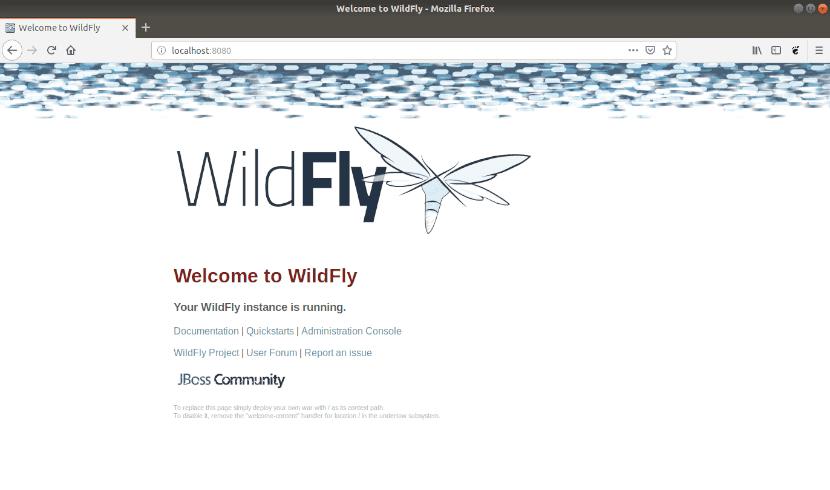 pantalla de bienvenida de Wildfly