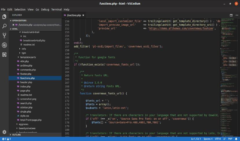 editor VSCodium en funcionamiento sobre Ubuntu