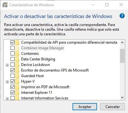 Actiar o desactivar características de Windows
