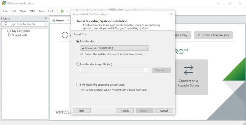 Instalar máquina virtual desde CD