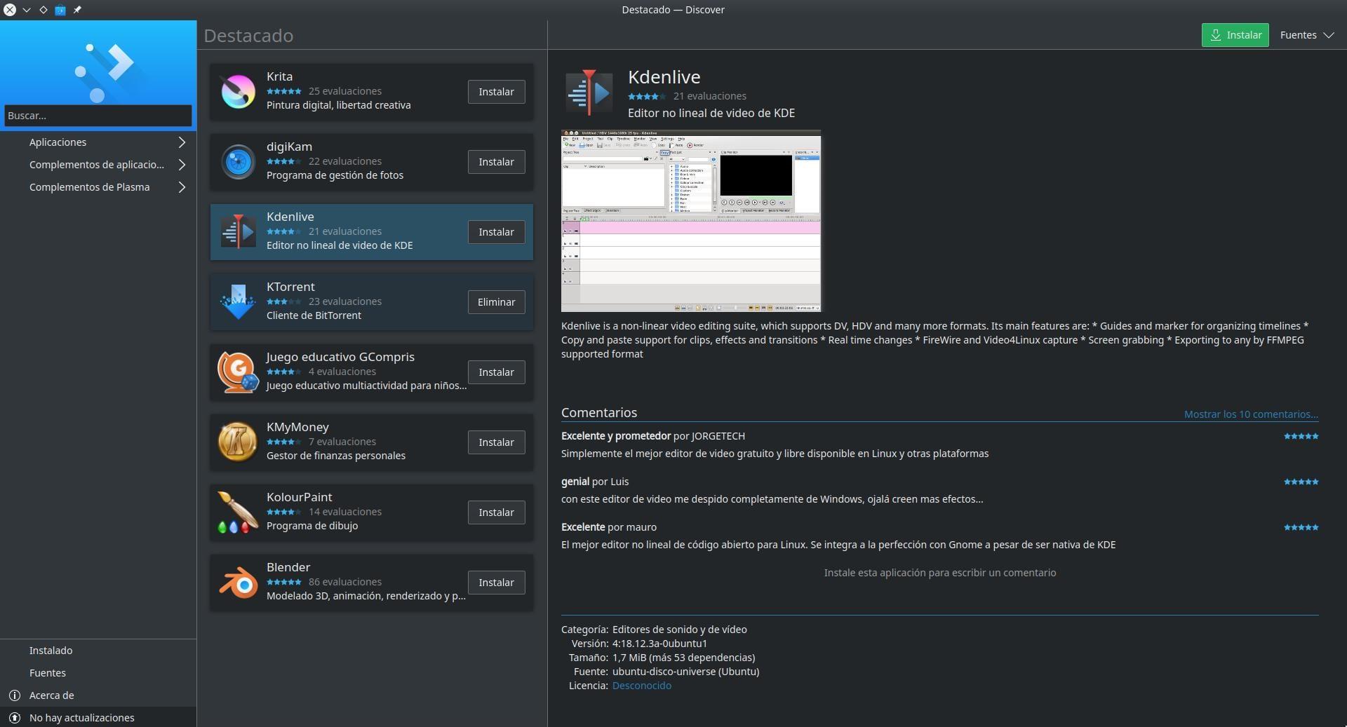 Kdenlive 18.2.3 versión APT en Discover