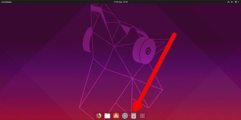 Papelera en el dock de Ubuntu