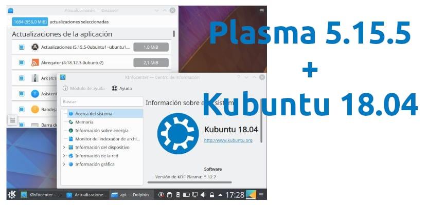 Plasma 5.15.5 y Ubuntu 18.04