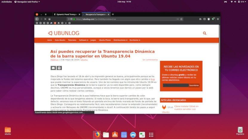 Transparencia Dinámica en Ubuntu 19.04