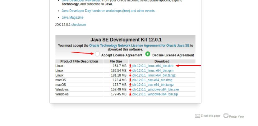 aceptar la licencia en la web de Oracle