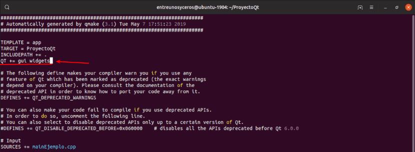 configuración archivo proyecto Qt