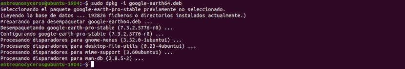 instalación de google earth pro en Ubuntu 19.04