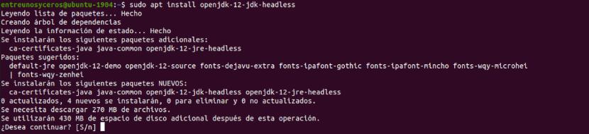 instalación Openjdk 12 headless