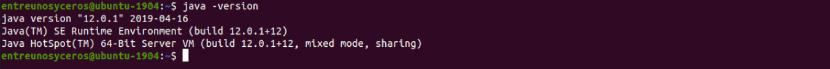 java -version instalado desde paquete .deb