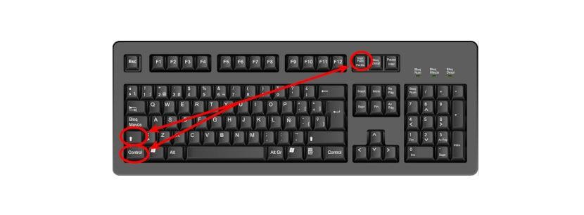 Realizar capturas de pantalla mediante atajos de teclado shift+ctrl+imprimir pantalla