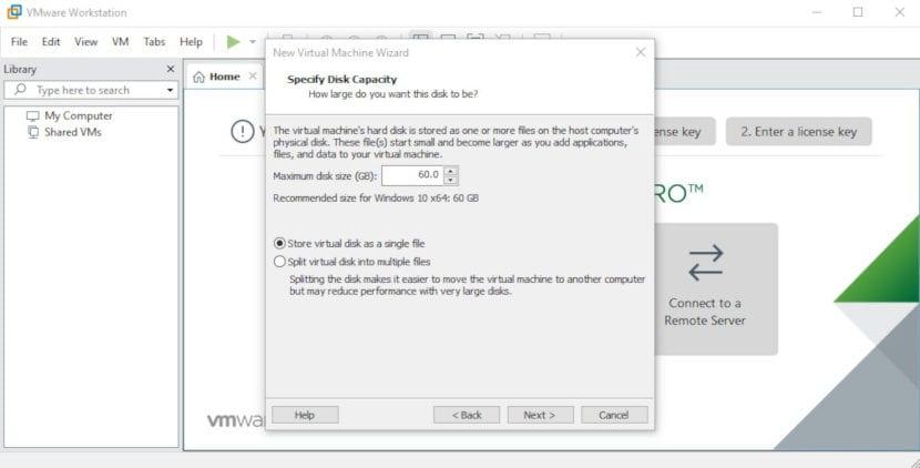 Tipo de almacenamiento de la máquina virtual en VMware