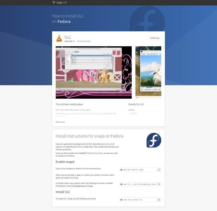 Página de la Snap Store de VLC para Fedora