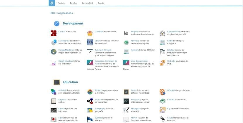 Web de KDE Applications