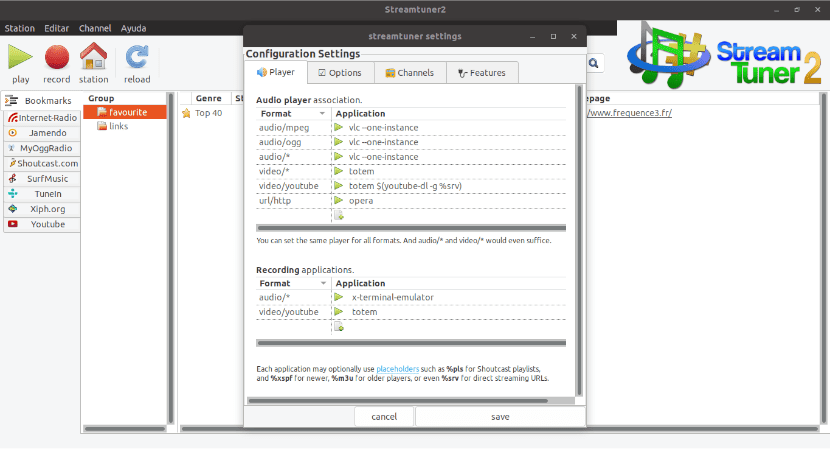 configuración de StreamTuner 2