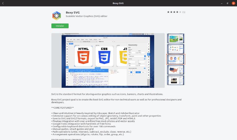 Instalar boxy svg desde la opción de software de Ubuntu