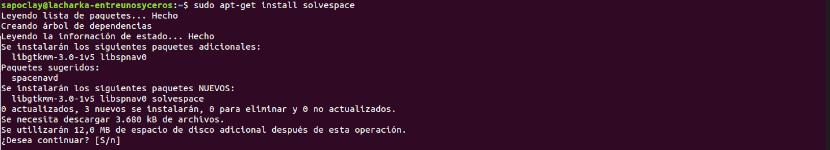 instalación de solvespace mediante apt
