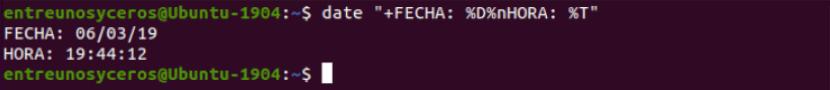 otro ejemplo de opciones del comando date
