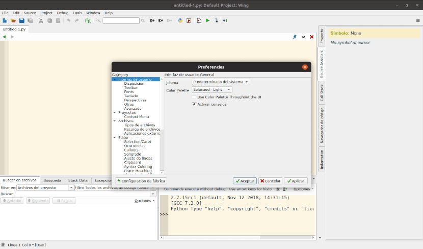 preferencias de wing Python 7