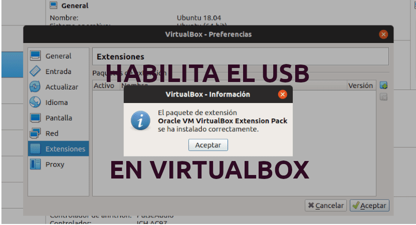 about habilitar el USB en VirtualBox