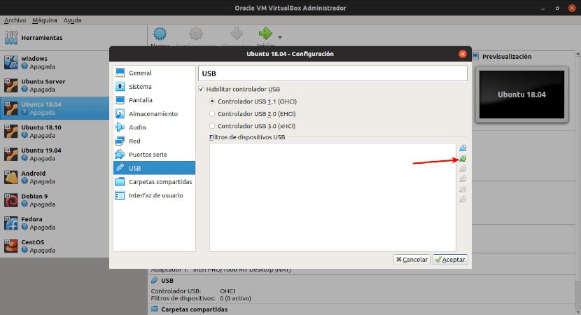 añadir USB a virtualbox
