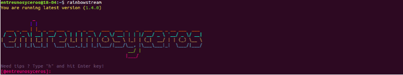 pantalla de bienvenida de Rainbow Stream