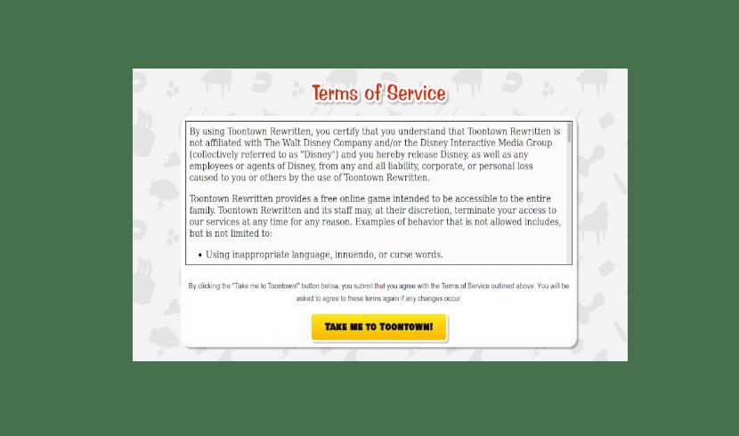 aceptación de licencia y normas en la web