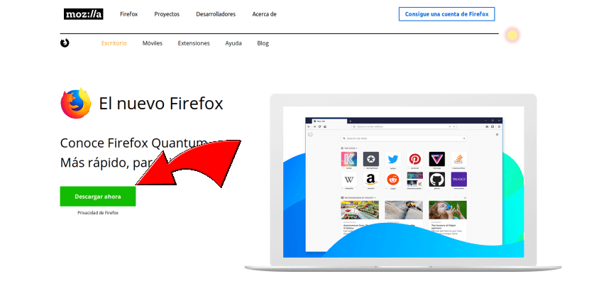 Descargar Firefox de su web