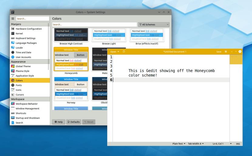 KDE respeta esquemas de colores GTK3