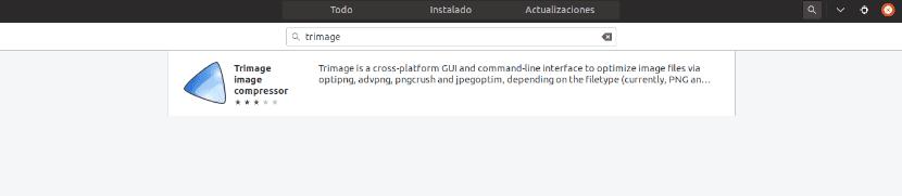 búsqueda trimage en la opción de software de Ubuntu