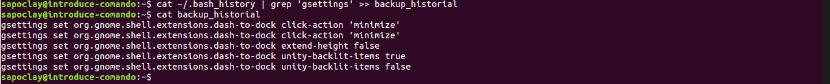 copia de seguridad solo algunos archivos comando history