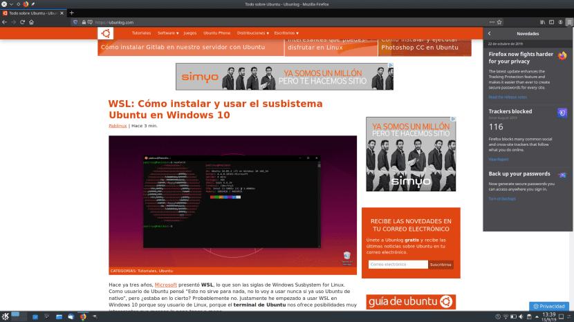 Apartado Novedades en Firefox 70