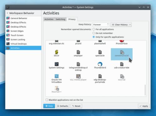 Página actividades en KDE Plasma 5.17