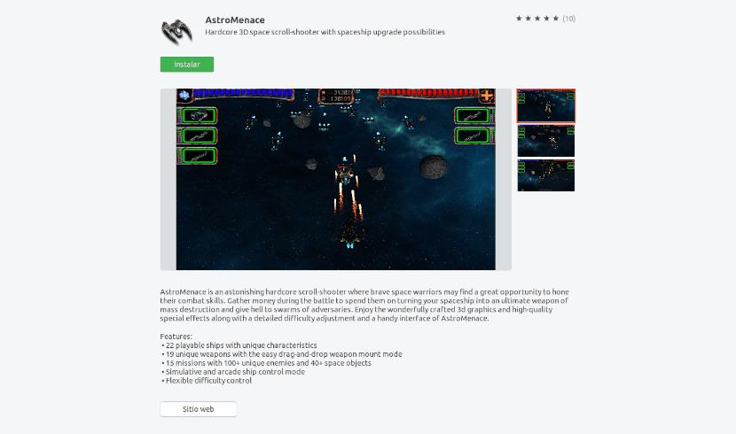 instalación del juego desde la opción de software de Ubuntu