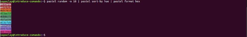 diez colores aleatorios en hexadecimal