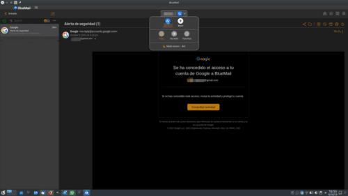BlueMail en modo oscuro