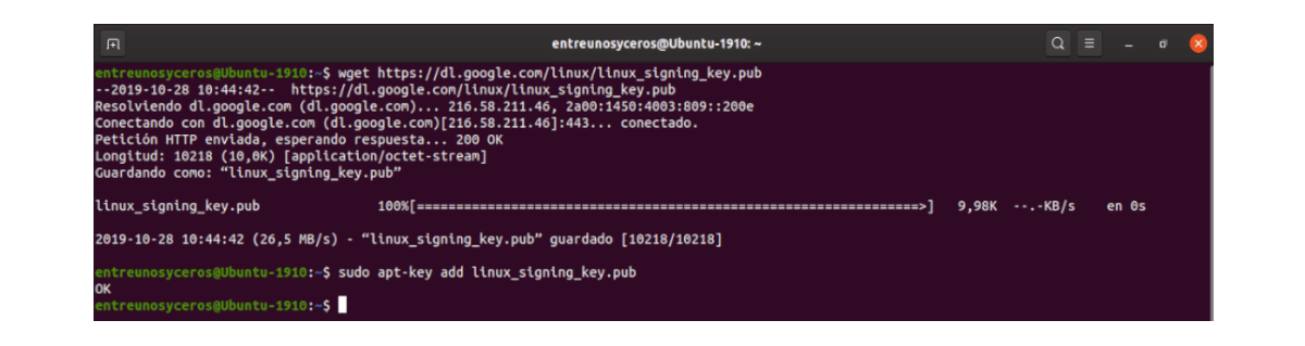google chrome linux signing key