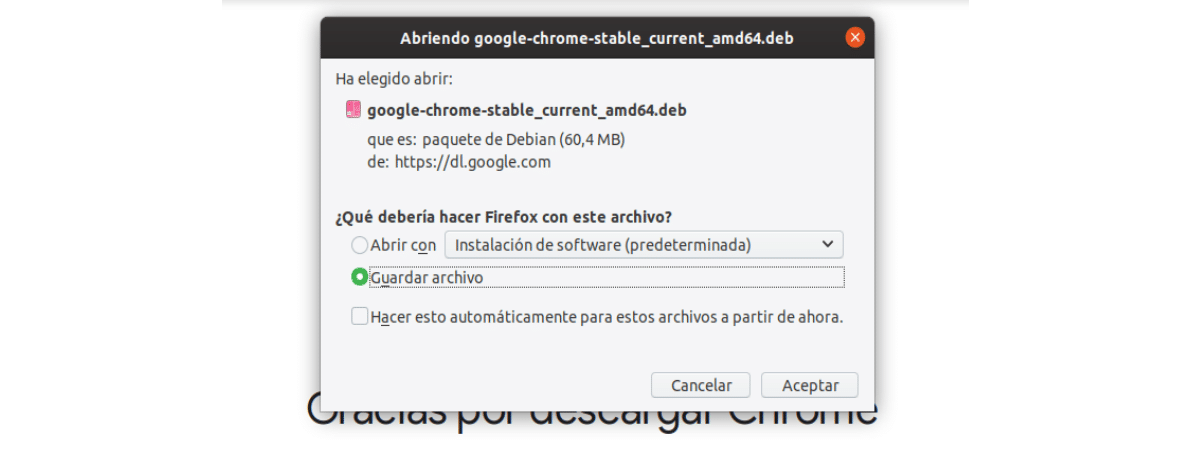 guardar archivo .deb de chrome