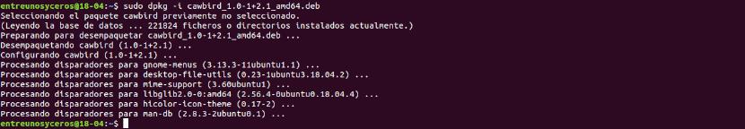 instalación del archivo.deb en Ubuntu 18.04