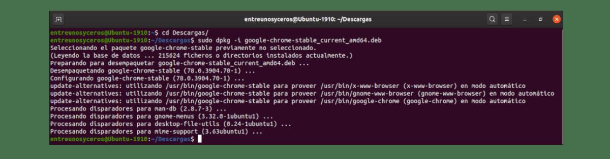instalación paquete descargado .deb de Chrome