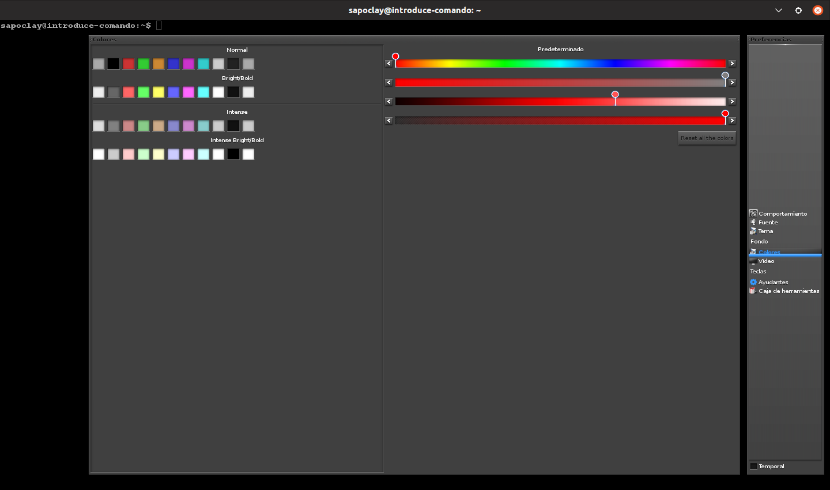 opciones colores