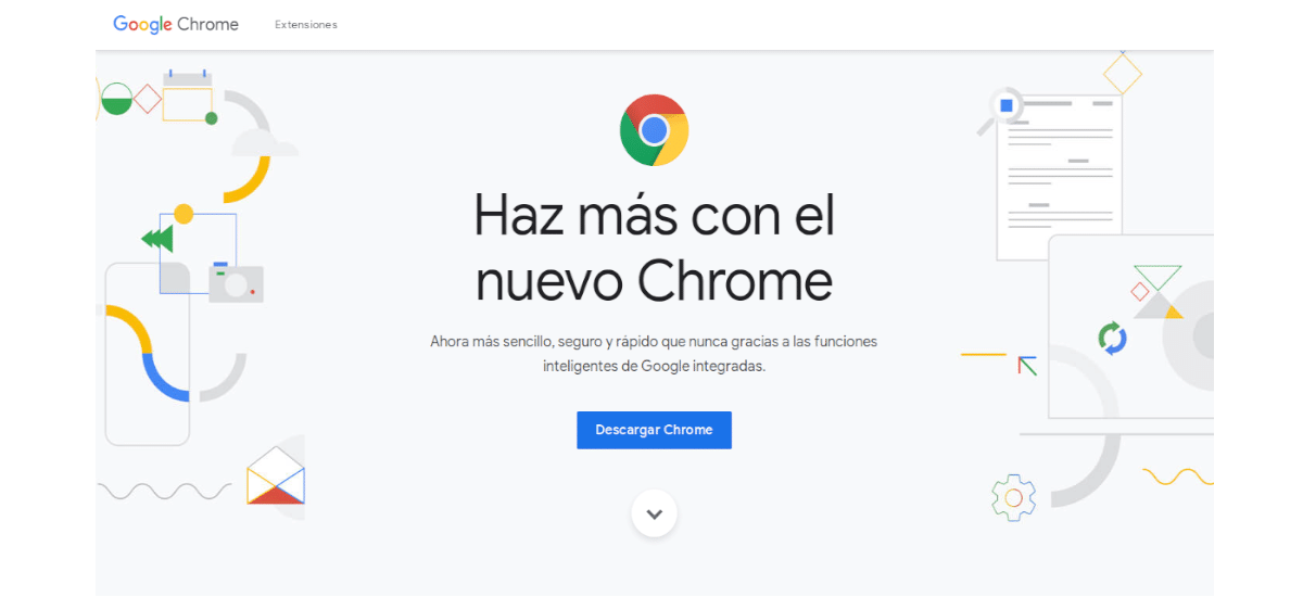 página de descarga de chrome