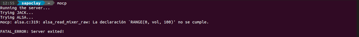 error server volumen MOC