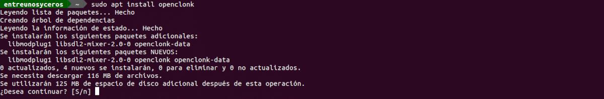instalación de OpenClonk con APT
