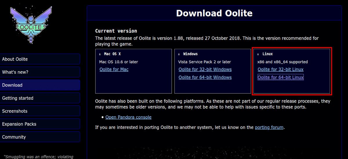 página de descarga del juego