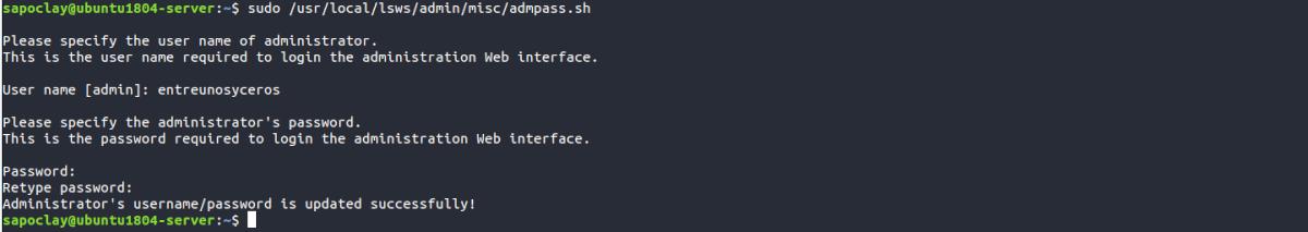 añadir usuario y password openlitespeed