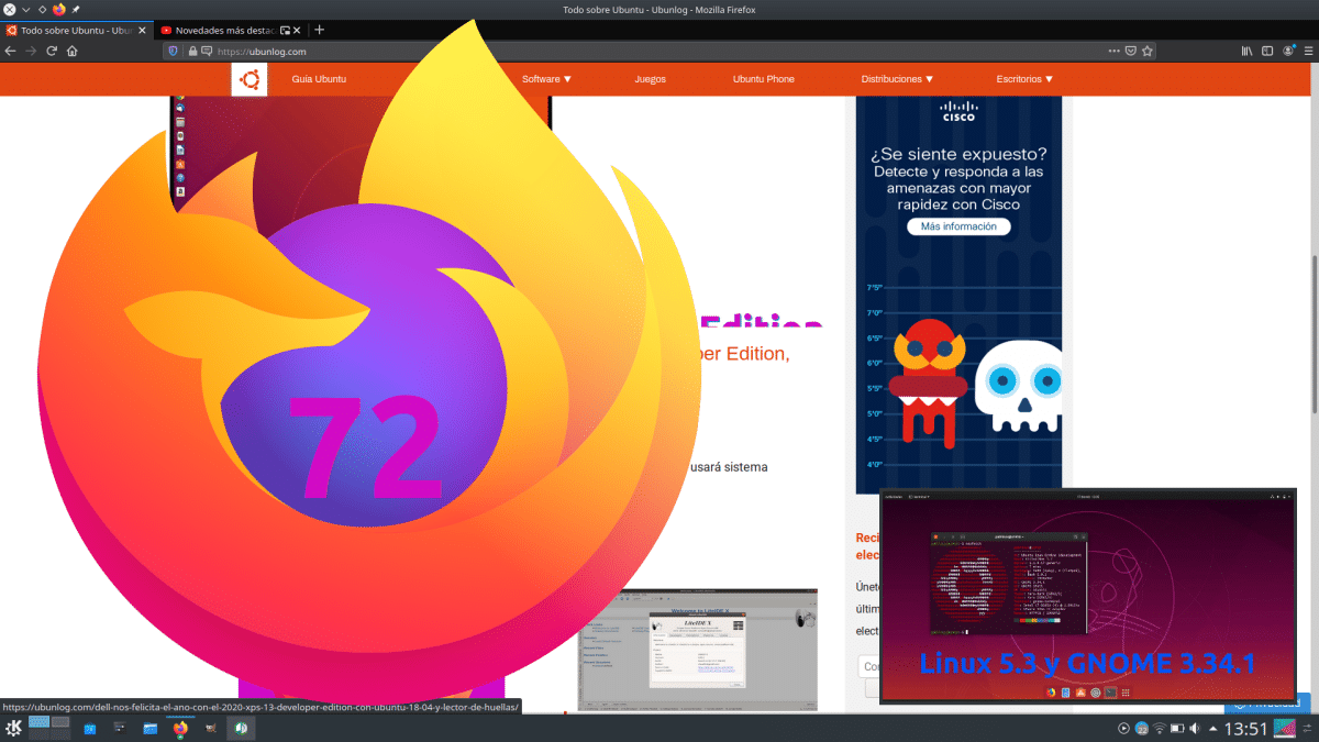 Firefox 72 con PiP en Linux